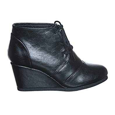 Lace Up Wedge Bootie (5.5, blackpuRS) [Apparel]