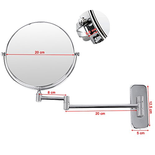 Songmics espejo de aumento de pared 5x ampliaci n 8 - Espejos de aumento para bano ...