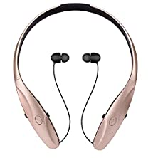 buy Bluetooth Headphone, Osten Design Hbs-950 Wireless Headset With Mic Stereo Neckband Noise Cancelling Hand-Free Sports Earphone Retractable Earbuds For Ios, Android And Other Bluetooth Devices (Gold)