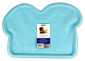 Rosewood Rubber Place Mat For Dogs (Light Blue/Paws)