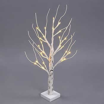 Excelvan 0.6M/2.0FT 24 LEDs Battery Operated Desk Top Silver Birch Twig Tree Warm White Light White Branches for Home Party Wedding Indoor Outdoor Decoration