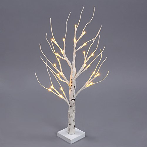 Excelvan 0.6M/2.0FT 24 LEDs Battery Operated Desk Top Silver Birch Twig Tree Warm White Light White Branches for Home, Party, Christmas, Indoor Outdoor Decoration ( HG-C001) (Lighted Led Tree compare prices)
