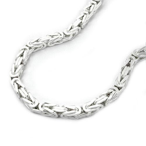 SILVER, NECKLACE, BYZANTINE CHAIN, 3MM SQUARE, SILVER 925, 45CM, NEW