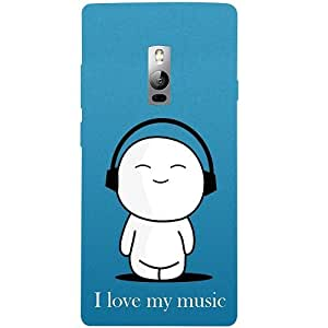Casotec I love My Music Design 3D Hard Back Case Cover for Oneplus 2