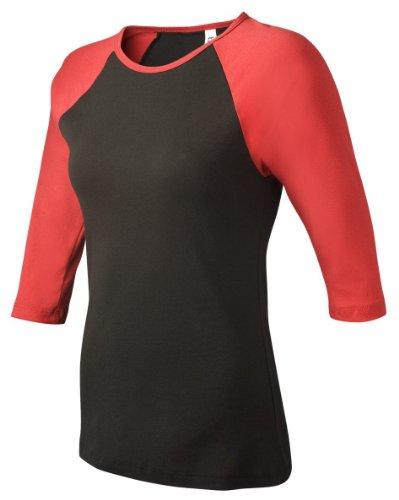 Bella+Canvas Ladies' Baby Rib 3/4-Sleeve Contrast Raglan Tee - Black/ Red - L