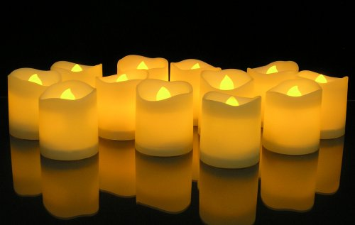 LED Lighted Flickering Votive Style Flameless Candles - Banberry Designs - Box of 12 - Wedding Decorations - White Faux Candles - Flameless Candle Set - Centerpieces