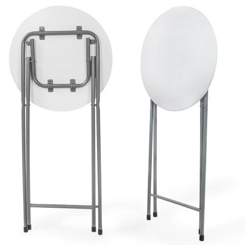 TecTake Tavolo Bistro Tavolo alto bianco pieghevole altezza: ca. 110 ...