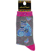 K Bell SOCKS-1103C Laurel Burch Socks-Indigo Cat