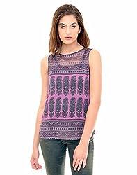 Indiwagon Purple Color Chiffon Printed Top