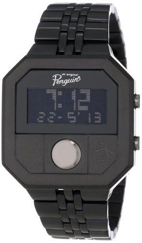 original-penguin-mens-quartz-watch-with-lcd-dial-digital-display-and-black-stainless-steel-bracelet-