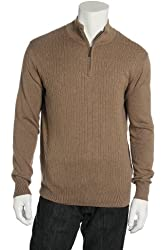 Spring + Mercer Ribbed Tan Quarter Zip Mock Neck Sweater