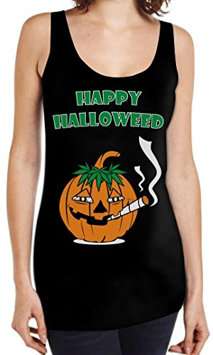 Happy Halloweed Stoned Pumpkin Funny Halloween Costume Maternity Tank Top Tunic