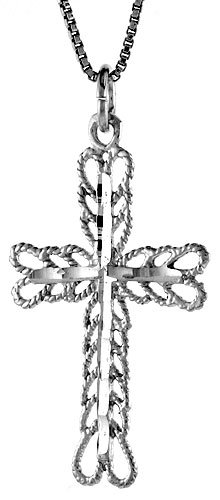 Sterling Silver Cross Pendant, 1 3/8 inch