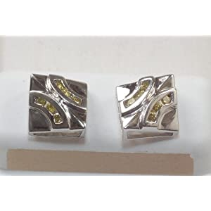 Click to buy 14K White Gold Men?s Canary Diamond Stud Earrings from Amazon!