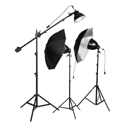 Cowboystudio 750 Watt Premium Photo Studio Reflector Umbrella Boom Lighting Kit
