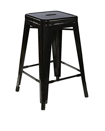Linon Home Décor Square Metal Counter Stool, Black