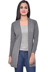 Frenchtrendz Grey Viscose Spandex Shrug