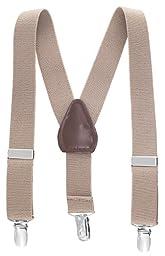 Albert's Baby/Kids Solid Color Elastic Adjustable Wedding Suspenders (30'', Tan)