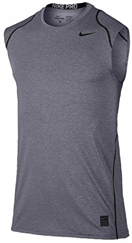 Nike Men's Dri Fit Pro Cool Fitted Sleeveless Training T Shirt (Medium, Carbon Heather/Black/Black)