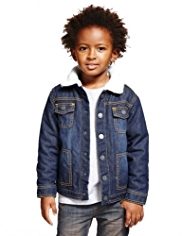 Pure Cotton Faux Fur Classic Collar Denim Jacket