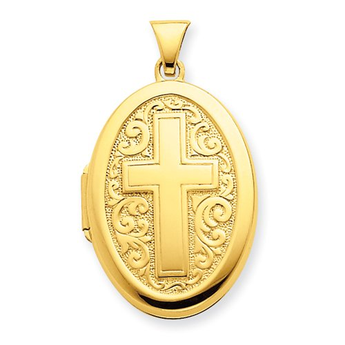 Gold-plated Sterling Silver Oval Cross Locket