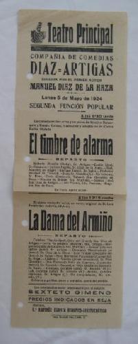 Poster: EL TIMBRE DE ALARMA, LA DAMA DE ARMIÑO. Compañía de Comedias DIAZ ARTIGAS