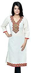 Devansh Women's Free Size White Stitched Long Cotton Kurtis