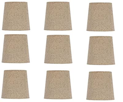 Upgradelights® 5 Inch Clip On English Barrel Chandelier Lamp Shade in Natural Linen (Set of Nine)