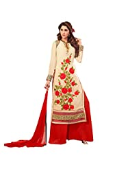 Fabefy Cream Red Faux Georgette Party Wear Suit