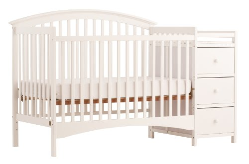 Stork Craft Bradford 4 in 1 Fixed Side Convertible Crib Changer, White