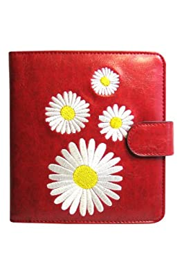 White Daisy Flower Embroidered Passport Cover Wallet - Red