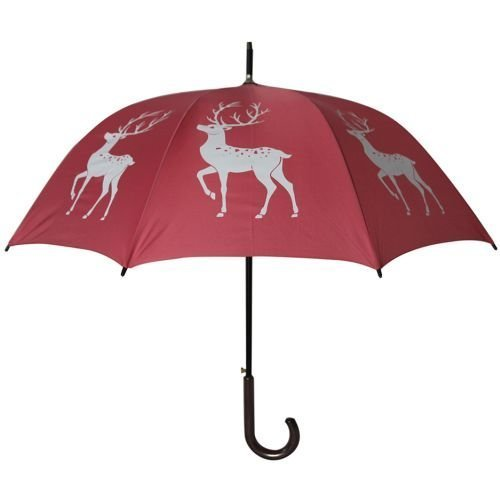 Reindeer Stag Umbrella White on Pink 34.5