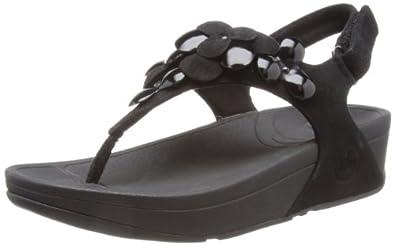 FitFlop Women's Fleur Slingback Sandal,Black,5 M US