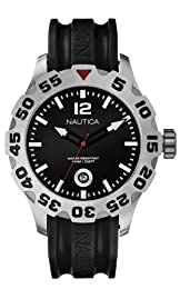 Nautica Men's Quartz Watch with Black Dial Analogue Display and Black Resin Strap A14600G