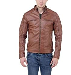 Bulls Eye Men's Leather Jacket(BE03_Brown_39_Small)
