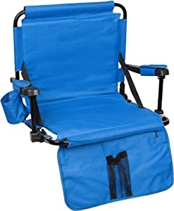 Trademark Innovations Stadium Chair with Hooks/Arm Pads/Leg Padding, Blue