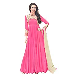 Regalia Ethnic New Collection Light Pink Embroidered Georgette Semistitched Dress Material With Matching Dupatta