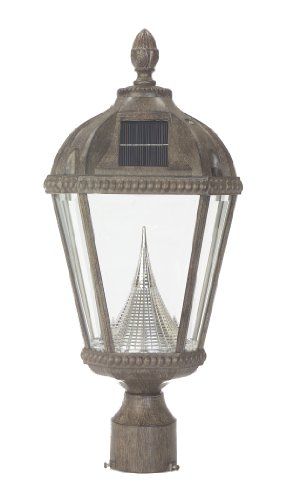 Gama Sonic Royal Solar-Charged LED Lantern, 3-Inch Fitter for Post Mount, Weathered Bronze Finish #GS-98F