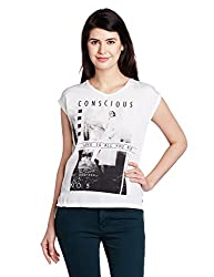 People Women's Body Blouse Top (P20402095902015_White and Off-White_Medium)