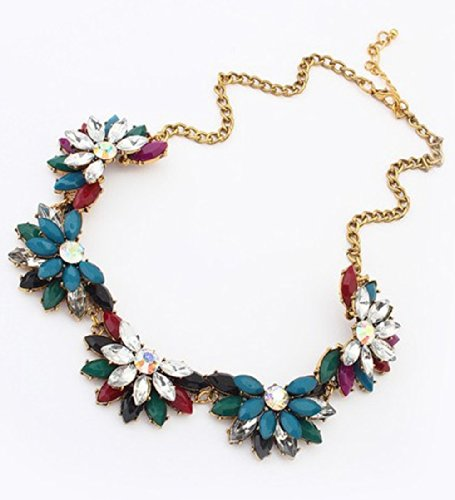 SUNNOW-Vintage-Resin-Flower-Bubble-Bib-Statement-Pendant-Necklace-Choker-Collar-Jewellery