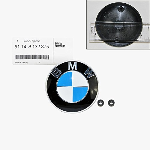BMW Hood Emblem Logo Badge Roundel 82mm Genuine OE 51148132375 + Grommets 51141807495 (Bmw Hood Emblem Genuine compare prices)