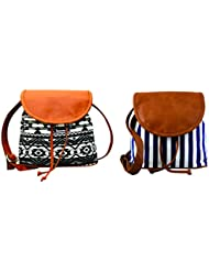 Kleio Combo Of Striped Canvas & Casual Canvas Sling Bag