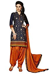 Kvsfab Blue( Crepe Printed) Patiala Suit for women