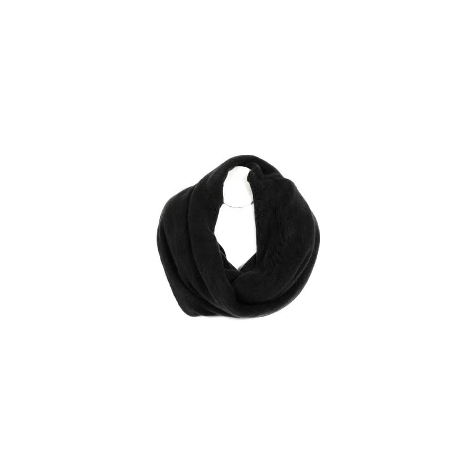 Black Knit Solid Color Circle Eternity Ring Scarf