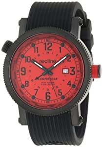 red line Men's 18003-BB-05 Compressor Red Dial World Time Black Silicone Watch