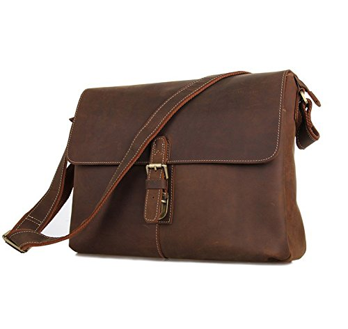 Mige Intl Men'S Leather Messenger Bag Coffee