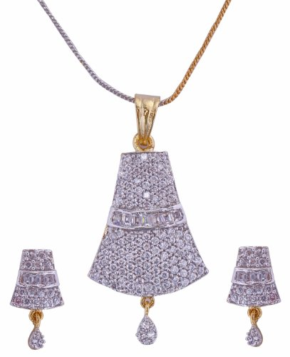 Aditri Aditri Brass Pendant Set For Women White - CZ P 115 (Multicolor)
