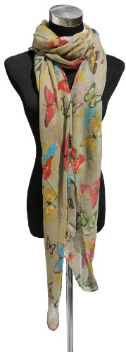Large Beige, Butterfly and Flower Design Chiffon Scarf or Sarong