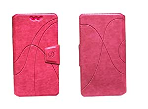 J Cover Oscar Series Leather Pouch Flip Case With Silicon Holder For Alcatel OneTouch Hero 2+ Pink