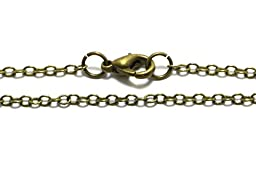 10 Brass Chain Necklaces in Antique Bronze Plated, 2mm Cable Chain, 24\